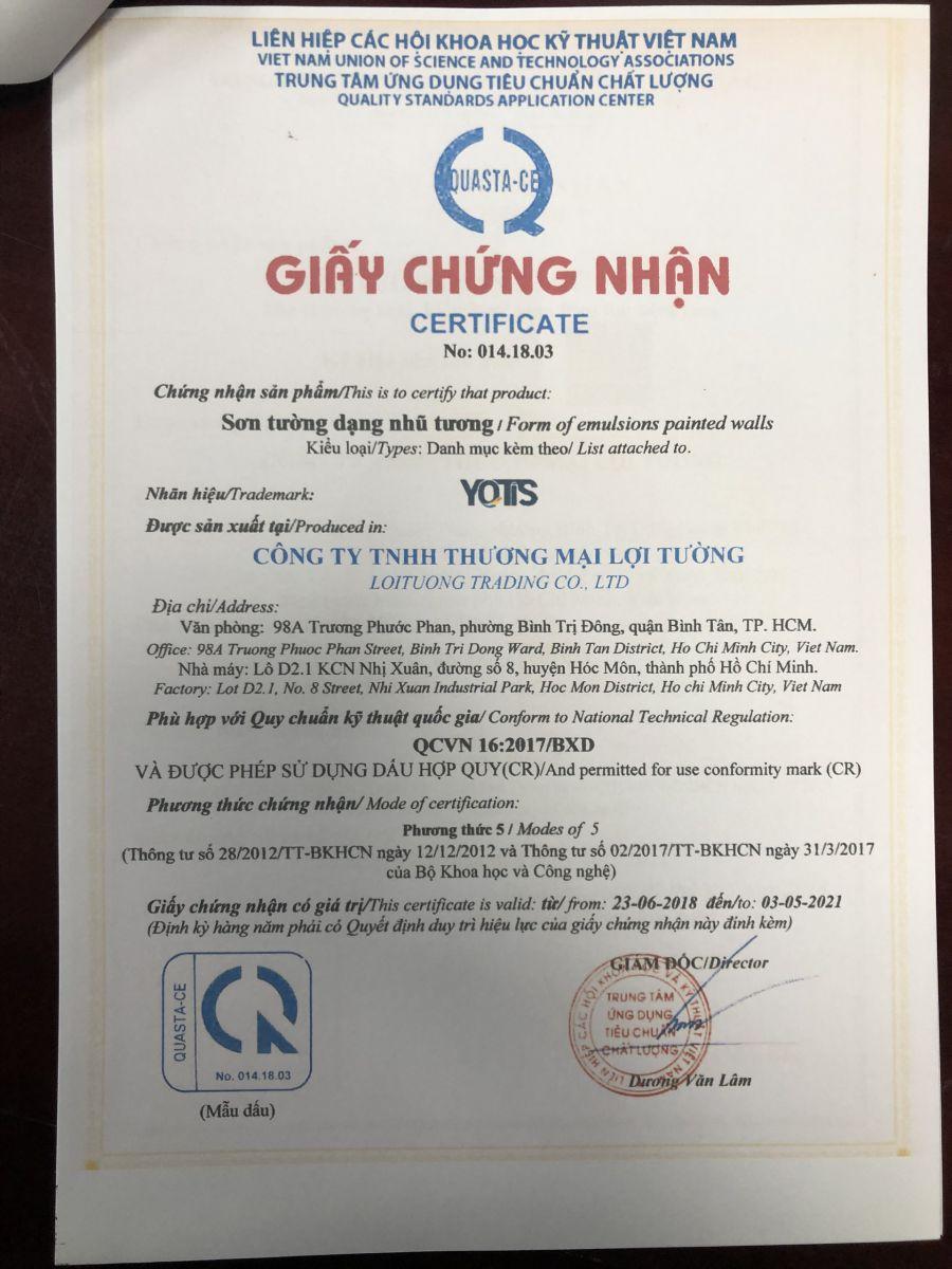giấy chứng nhận chất lượng